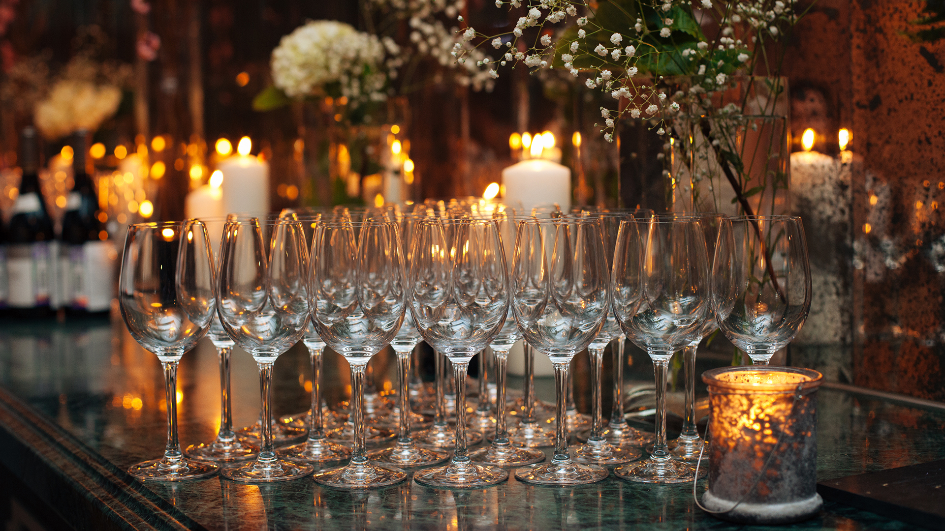 Photo of champagne glasses at table setting