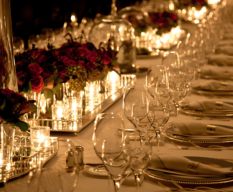 photo of table setting plates and glasses